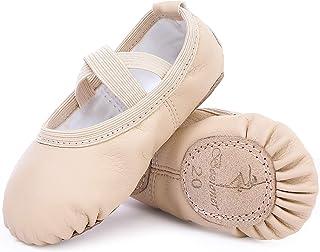 Zapatillas de Danza Cuero Zapatos Media Punta de Ballet y Gimnasia para Niña y Mujer
