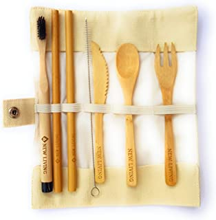 Juego de cubiertos de bambú y cepillos de dientes de bambú (13pcs)   Incluye pajita de bambú, tenedor, cuchillo, cuchara, cepillo de dientes y funda de transporte