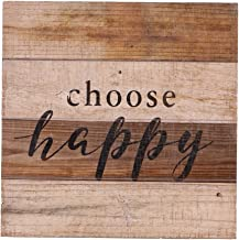 "NIKKY HOME Rustic Wall Art Quoted ""choose happy"",11.93 x 11.93 In"