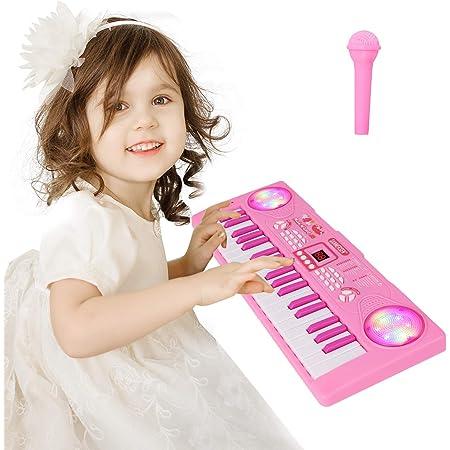 Sanmersen Teclado de Piano para Niños 37 Teclas Multifunción Teclado Electrónico Piano con Micrófono Juguete Educativo Música Digital portátil Regalo ...