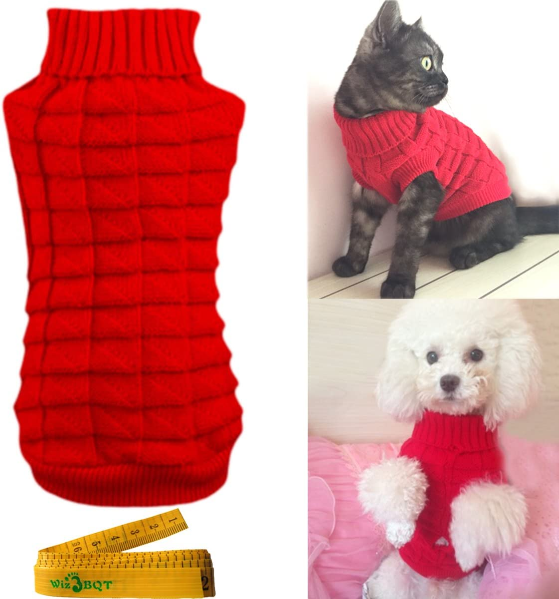 Wiz BBQT Knitted Braid Plait Turtleneck Sweater Knitwear Outerwear for Dogs /& Cats
