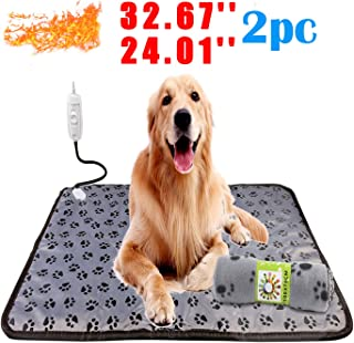 wangstar Oversized Pet Heating Pad 32.67''x24.01''& Warm Blanket 39.37''x23.62'', Dogs Cats Indoor Electric Adjustable Warm Mat Sets Chew Resistant Waterproof 2pcs