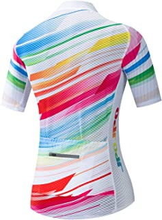 JPOJPO Bike Jersey Women, Racing Women's Cycling Shirt Tops S-3XL with 4 Pockets