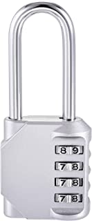 uxcell 4 Digit Combination Luggage Lock Travel Resettable Padlock Zinc Alloy Silver Tone 106x43x22mm