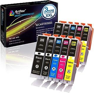 Arthur Imaging Compatible Canon Ink cartridges 280 and 281 Replacement PGI-280XXL CLI-281XXL PGI 280 XXL CLI 281 XXL PIXMA TR7520 TR8520 TS6120 TS6220 TS8220 TS9120 TS9520 TS9521C Printer (10 Pack)