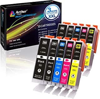 Arthur Imaging Compatible Canon Ink cartridges 280 and 281 Replacement PGI-280XXL CLI-281XXL PGI 280 XXL CLI 281 XXL PIXMA TR7520 TR8520 TS6120 TS6220 TS8220 TS9120 TS9520 TS9521C Printer (10 Pack)