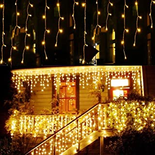 Greenclick LED Icicle Lights,32.8ft x 2.6ft 480 LED String Lights Plug in with Remote 8 Modes for Christmas Wedding Party Family Patio Lawn Decoration (Warm White)