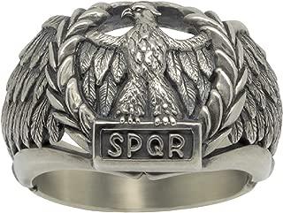 Handcrafted Sterling Silver 925 Custom Made Roman Empire Eagle SPQR Biker mens Ring