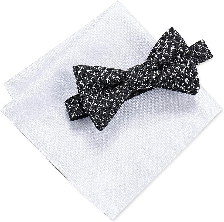 Ryan Seacrest Distinction Men's Marshall Geometric Bow Tie & Solid Pocket Square Set B/W