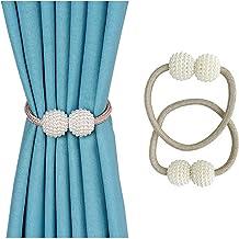 Mumoo Bear Magnetic Curtain Tiebacks 1 Pair Magnetic Curtain Straps Strong Magnetic Curtain Buckle for Home Office Pearl S...