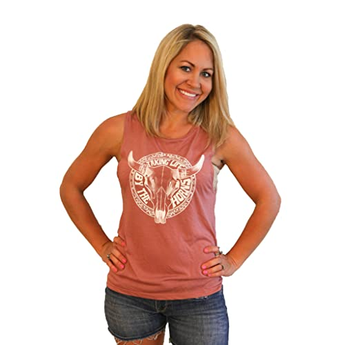 04d15e0b Tough Little Lady Women's Shirt Graphic Takin Life by The Horns Boutique Top  Mauve Muscle T