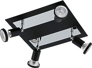 EGLO Sarria Spot, staal, plafondlamp, 4 spots, 20 W, zwart, chroom