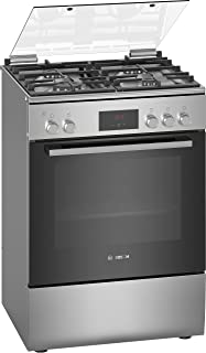 Bosch Serie | 4, 60X60 cm 4 Gas Burners Free standing Gas cooker, Stainless steel - HGB320E50M, 1 Year Warranty