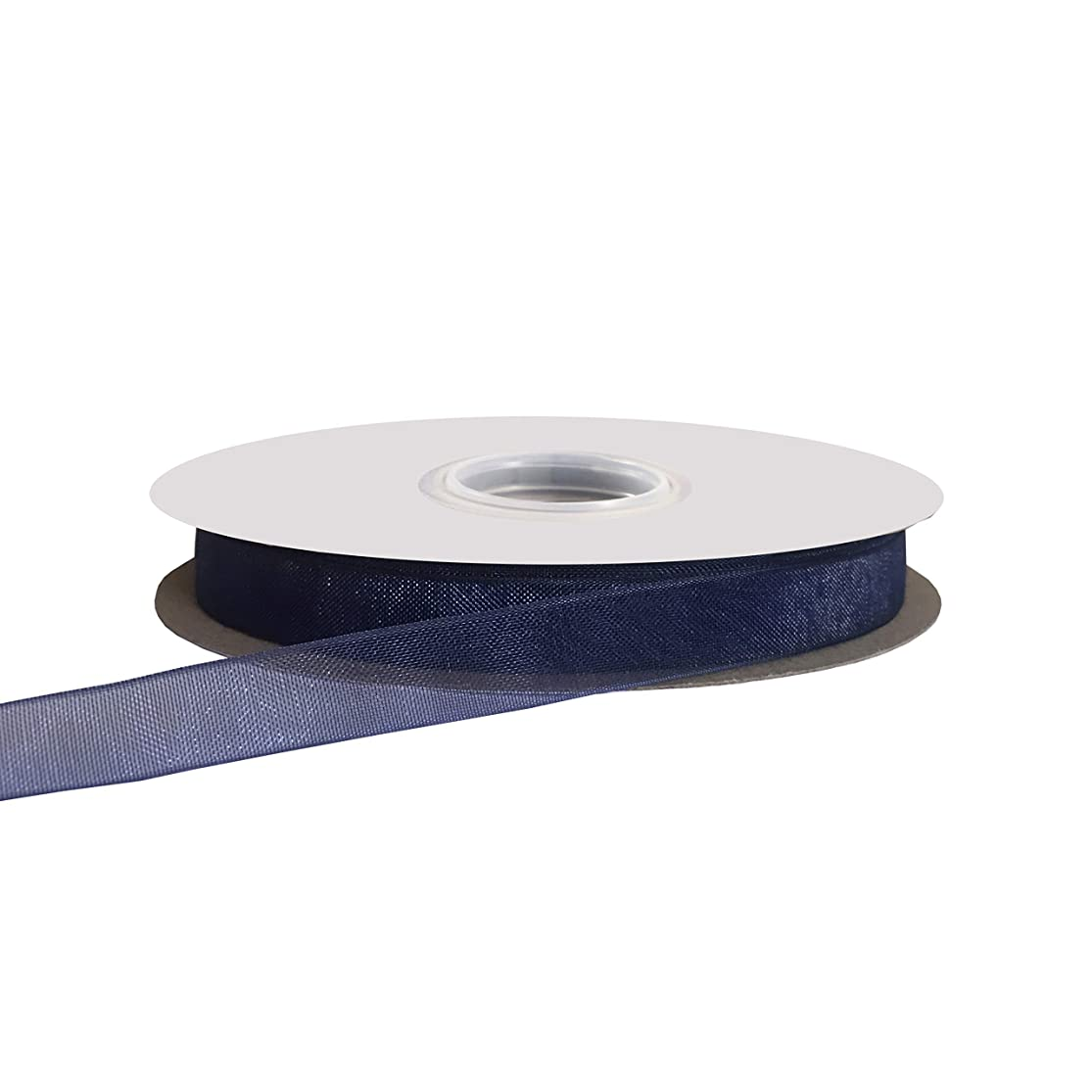 Kailin 3/8 inch Wide Shimmer Sheer Organza Ribbon 50 Yards Navy yahpcnqn1