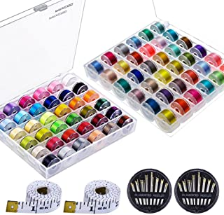 Quwei 36 Pcs Bobbins and Sewing Threads with Case and Soft Measuring Tape for Brother Singer Babylock Janome Kenmore