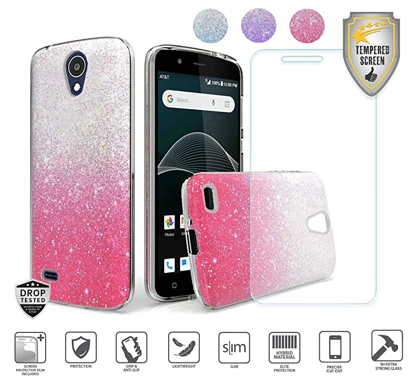 Compatible for At&t Axia QS5509a Case, Cricket Vision Case, with Tempered Glass Screen Protector, Premium Design Case for Women Girl Glitter Shiny Hybrid Tough TPU [Shockproof] (Hot Pink)