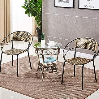 LONGren Patio Furniture Set 3 Piece Outdoor Wicker Bistro Set Rattan Chair Conversation Sets with Coffee Table/23.6x27.9in...