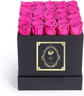 Fleur Magique | Preserved Roses Medium Square Classic Black Box - Hot Pink Roses