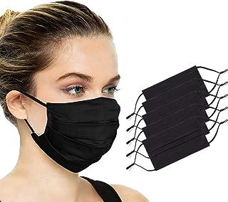 Reusable Face Mask Washable Cotton Cloth Adjustable Face Cover Breathable Comfort Black 5pcs