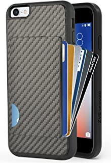 ZVEdeng iPhone 8 Wallet Case, iPhone 7 Card Holder Case, Shockproof iPhone 7/8 Credit Card Case with Carbon Fiber Design Protective Wallet ID Card Cover for Apple iPhone 8/7 4.7'' Black