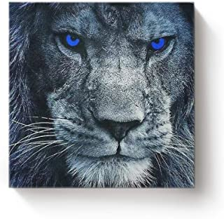 YEHO Art Gallery Square Canvas Wall Art Oil Painting Office Home Decor,3D Lion Head with Blue Eyes Animal Pattern Artworks for Christmas,Stretched by Wooden Frame,Ready to Hang,20 x 20 Inch