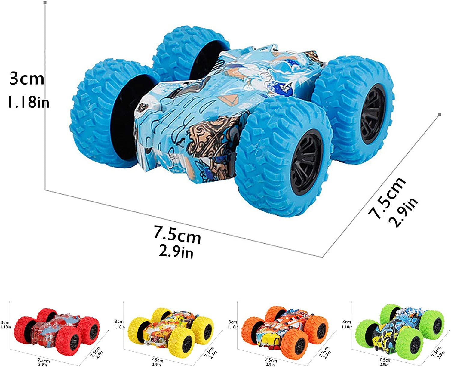 360 Degree Rotating Inertia Car Toys Inertia-Double Side Pull Back Cars Friction Powered Vehicles Stunt Graffiti Car Off Road Model Toy Car Birthday Christmas Party Festival Gift for Kids