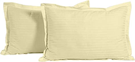 "Ahmedabad Cotton Luxurious 2 Piece Sateen Pillow Cover Set - 17""x 27"" (Beige)"
