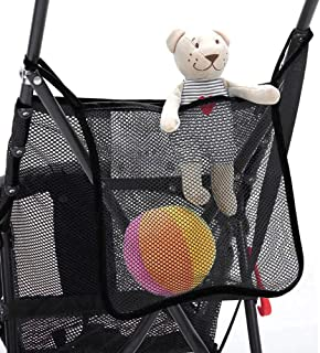Mesh Stroller Bag,Hamkaw XL Baby Stroller Caddy Organizer with Two Straps Large Capacity Universal Mommy Diaper Bag Pram Carrying Bag Stroller Accessories for Toys Bottles Snacks Infant Items