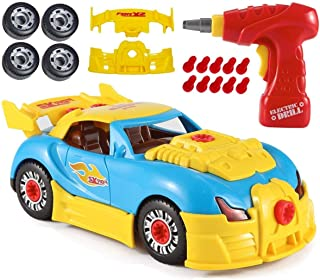 Zoostliss Custom Take A Part Car Playset, Sports Car with Electric Play Drill, Motion Activated Lights and Sounds