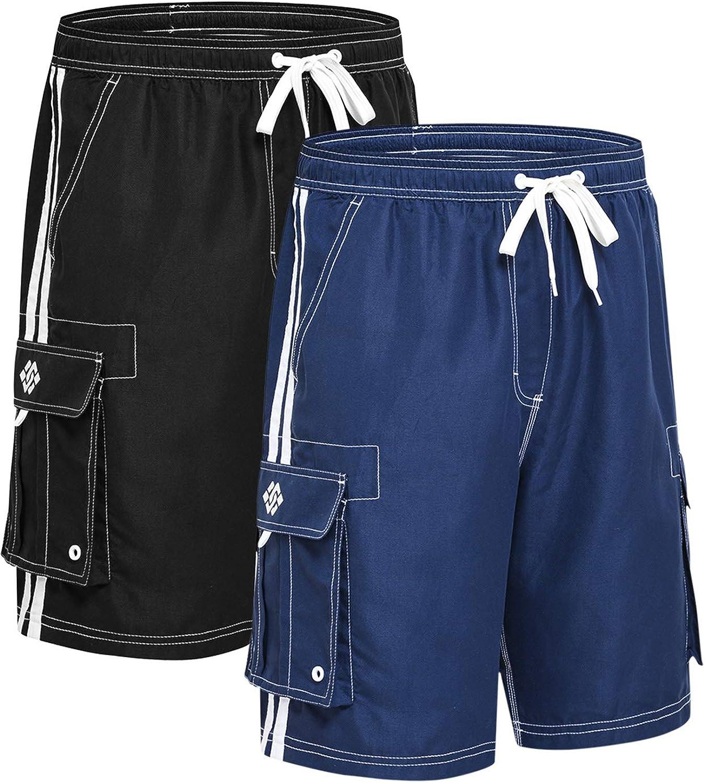 Akula Mens Beach Board Shorts Swim Trunks with Cargo Pockets