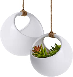 Modern Round Hanging White Ceramic Planter Pots with Jute Twine Rope, Set of 2