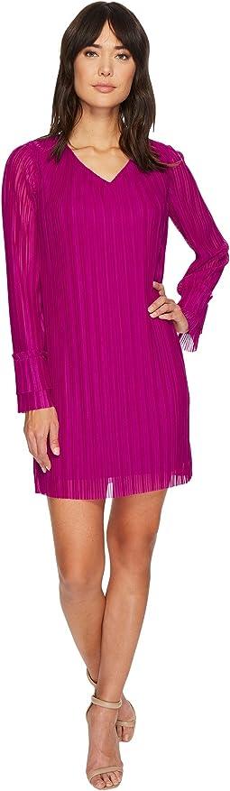 Crystal Pleat V-Neck Ruffle Sleeve Dress