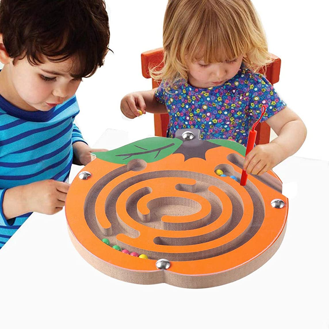 Livoty Maze Magnetic Game Stem Toy Kids Maze Puzzle Toys Intellectual Jigsaw Board Wooden Game Toys