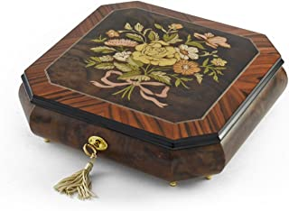 Charming Handcrafted Octagonal Italian Music Box with Floral Bouquet Inlay - Over 400 Song Choices - Winter Wonderland
