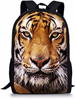Cool 3D Tiger Head Printing Children School Backpacks