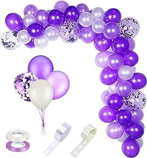 ZERHOK Lila latexballong, 60 st lila ballonger konfetti ballong girlang remsa med 2 rullband för bröllop förlovning möhipp...