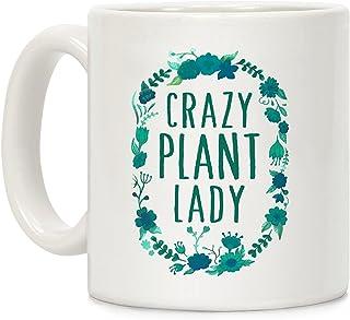 ca3f9b24f09 LookHUMAN Crazy Plant Lady White 11 Ounce Ceramic Coffee Mug