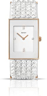 Seksy by Sekonda Women's Quartz Watch with White Dial Analogue Display and White Plastic Strap 4855.37