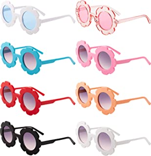8 Pieces Kids Sunglasses Cute Round Sunglasses Flower...