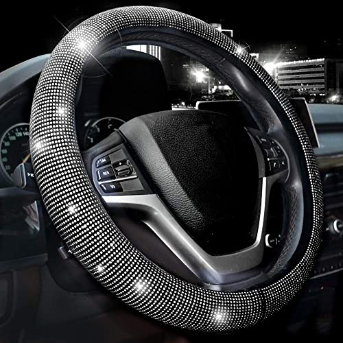 Valleycomfy Steering Wheel Cover for Women Bling Bling Crystal Diamond Sparkling Car SUV Wheel Protector Universal Fi...