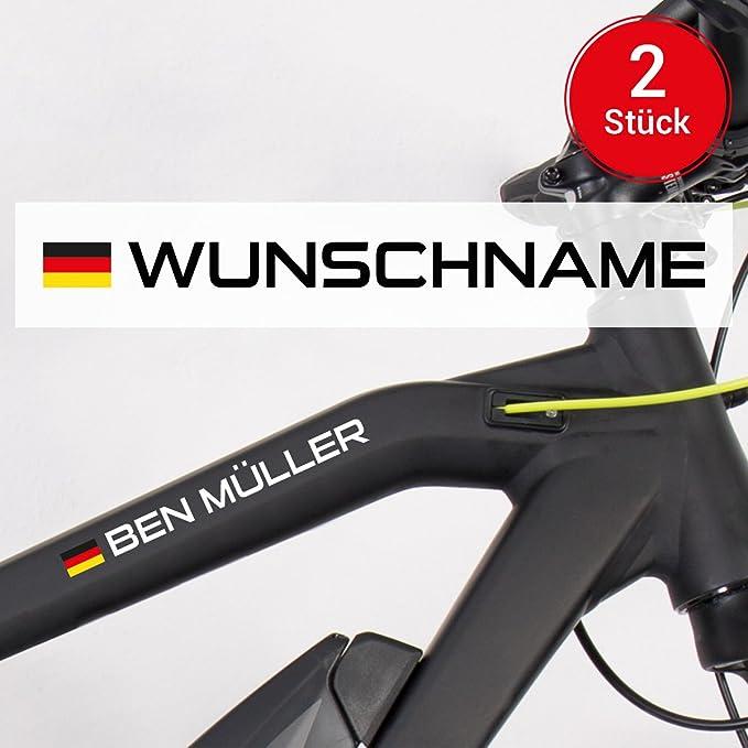 Motoking Fahrradaufkleber Name Flagge 2 Stück Ihr Wunschname Für Ihr Rennrad Fahrrad Wähle Größe Farbe Auto