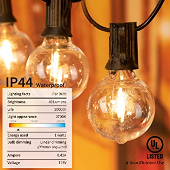 Brightown LED G40 Outdoor String Lights 50FT Patio Lights with 51 LED Shatterproof Bulbs(1 Spare), Weatherproof Comme...