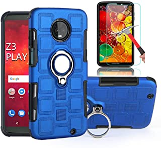 Moto Z3 Play Case,Moto Z3 Case with HD Screen Protector, EDSAM Dual Layer Shockproof Case with 360 Degree Rotating Ring Ki...