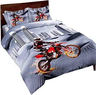 SHINICHISTAR Sports Theme Comforter Sets Dirt Bike Queen Size Bedding for Teen Bedroom Decor