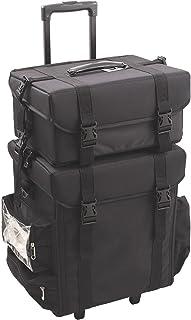 Sunrise Malpaga 2-In-1 Soft-sided Rolling Makeup Case Professional Nail Travel Wheel Organizer, Black Canvas, 23 Pound
