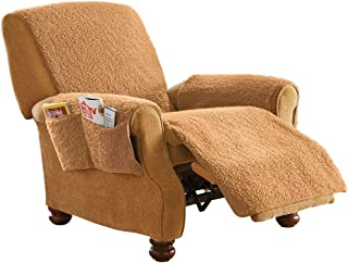 Fleece Recliner Furniture Protector Cover with Pockets, Tan