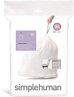 Simplehuman Code M 45L Custom Fit Bin Liners, White, CW0173