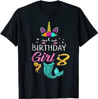 8th Birthday Girl Unicorn Shirt Mermaid Tail 8 Years Old Tee