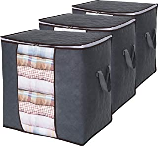 Lifewit 3 Stück Aufbewahrungstasche Groß Kleideraufbewahrung mit verstärktem Griff und Stabilem Reißverschluss aus Dickem Stoff für Bettdecken und Kissen Faltbar, Grau