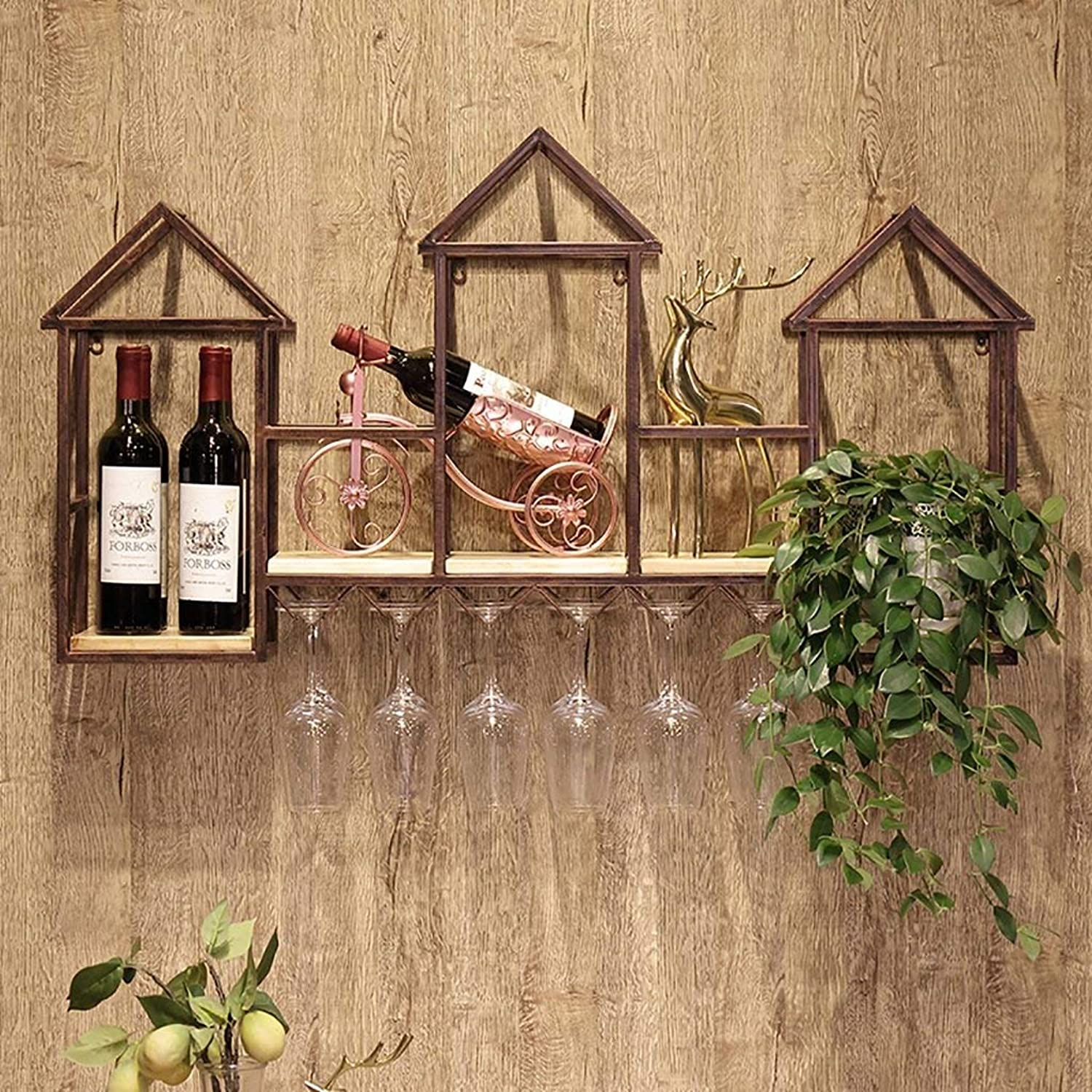 Solid Wood Wall Hanging Wine Rack -110  60  20Cm - Wrought Iron Wall Hanging Restaurant Wine Cabinet Decoration Wine Glass Holder,Save Space,Chrome